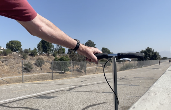 On the Rio Hondo bike trail with the Xootr Street kick scooter.
