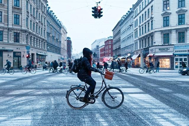 On a bike commute.