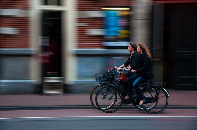 Commuting by bicycle.
