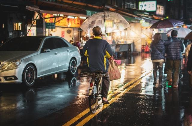 Bike commuting in the rain.
